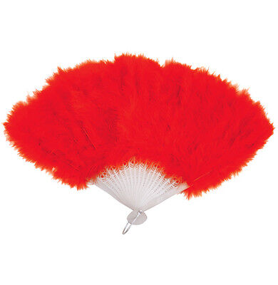 Red Feather Hand Fan Ladies Burlesque Fancy Dress Costume