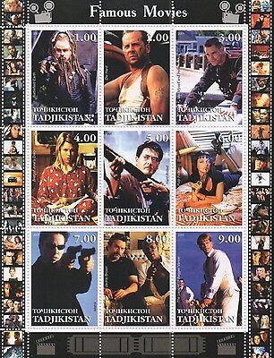 Famous Movies Die Hard Pulp Fiction The Matrix Jackie Brown Mnh Stamp Sheetlet