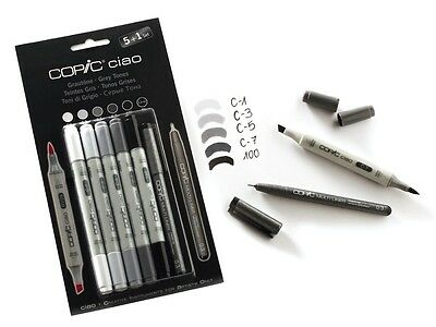 Copic Ciao Marker - 6 Pen Set - Grey Tone Set - Twin Tipped