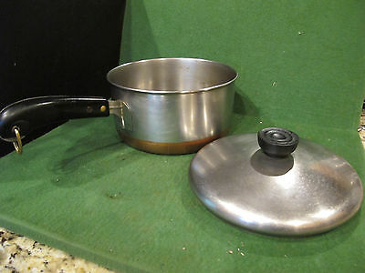 """Revere Ware 1801 Copper Clad Bottom 7"""" Stainless Steel Sauce Pan with lid"""