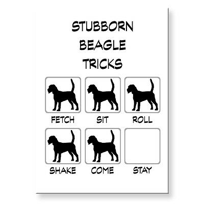 BEAGLE Stubborn Tricks FRIDGE MAGNET Steel Case Funny