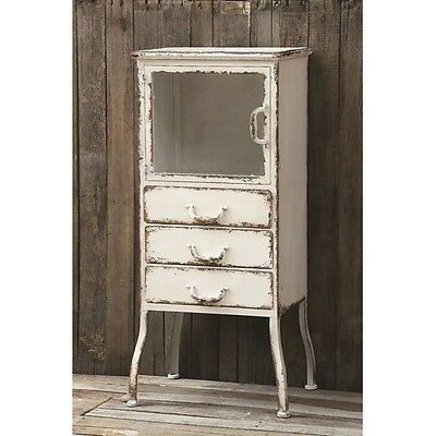 French White Washed Shabby Antique Chic Chest Drawers Industrial Linen Cabinet