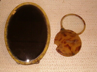 Lot of 2 ANTIQUE OLD CELLULOID 1887 MIRROR & JEWLERS LOOP LOUP