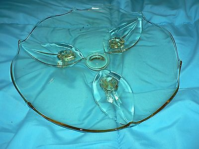 Vintage Amber Glass Large Footed Pie Cake Plate Yellow Beautifully Art Deco