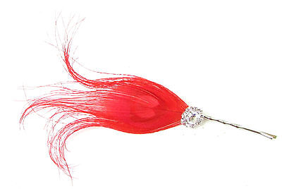 Red Silver Peacock Feather Hair Clip Fascinator Bridesmaid 1920s Headpiece 227