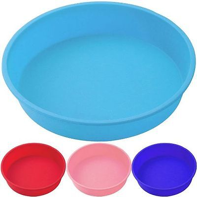 20Cm Silicone Bakeware Round Mould Cake Tins Non Stick Blue-Red-Pink Cake Pan