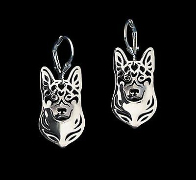 German Shepherd Dog Earrings-Fashion Jewellery Silver Plated, Leverback Hook