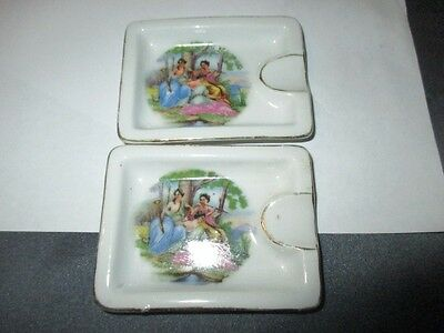 2  BUTTER PATS OR OPEN SALTS ashtrays THE THREE MUSES