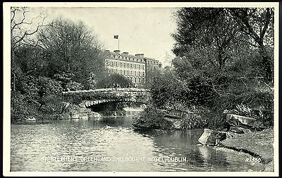 Old Rare Postcard St Stephens Green & Shelbourne Hotel Dublin Unsd (Ref: LG111)