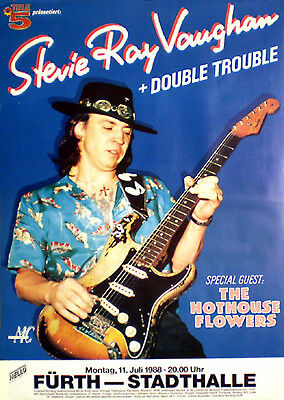 STEVIE RAY VAUGHAN  rare concert poster from 1988  rolled