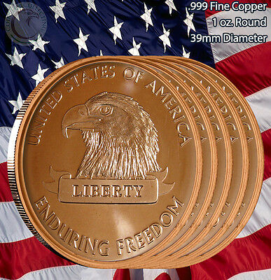 "5 Rounds ""American Eagle"" Enduring Freedom 1 oz .999 Copper Round Limited & Rare"