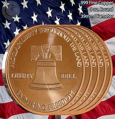"5 Rounds ""Liberty Bell"" Enduring Freedom 1 oz .999 Copper Round Limited & Rare"