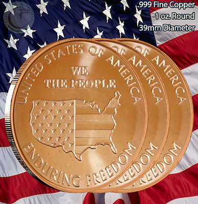"3 Rounds ""We the People"" Enduring Freedom 1 oz .999 Copper Round Limited & Rare"