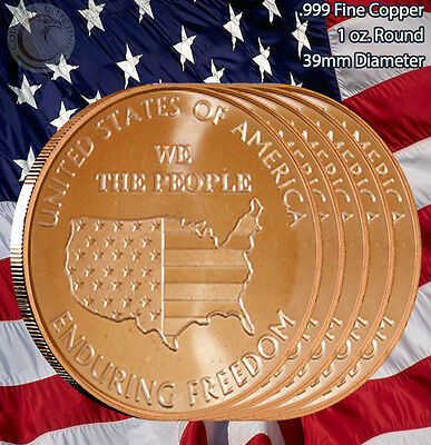 "5 Rounds ""We the People"" Enduring Freedom 1 oz .999 Copper Round Limited & Rare"