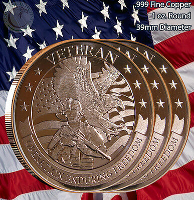 "3 Rounds ""VETERAN"" Enduring Freedom 1 oz .999 Copper Round Limited & Rare"