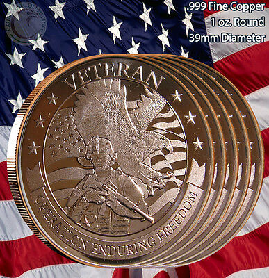 "5 Rounds ""VETERAN"" Enduring Freedom 1 oz .999 Copper Round Limited & Rare"