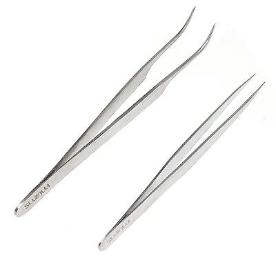 Mums Straight Vetus Curved Fine Point Pair Tweezers For Eyelash Extension