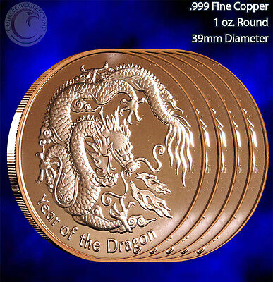 5 Rounds Year of the Dragon 1 oz .999 Copper Round