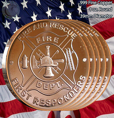 "5 Rounds ""Fire Department - Fire and Rescue"" 1 oz .999 Copper Round"