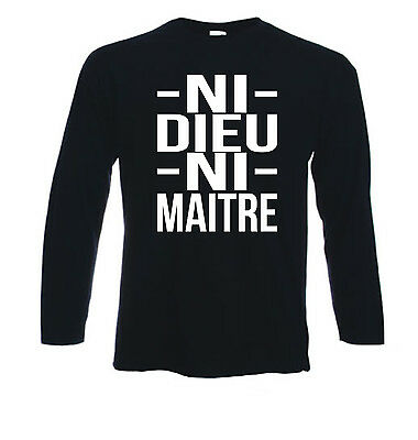 Tshirt noir homme manches longues fruit of the loom NI DIEU NI MAITRE blanc