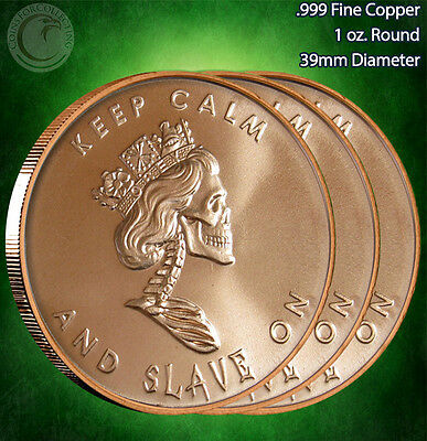 "3 Rounds ""Free Reign Keep Calm"" Copper Round 1 oz .999 Very Limited and Rare"