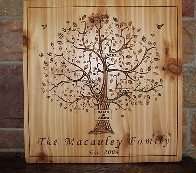 Custom made carved wood family tree personalized wood plaque wedding anniversary