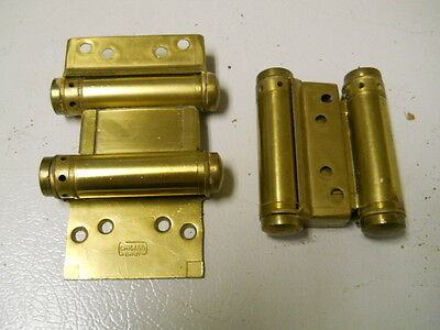 """2 Chicago Simplex 3"""" Double acting NON-SPRING-LOADED Hinges, Satin Brass Finish"""