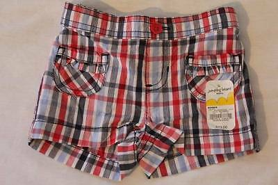 NEW Baby Girls Size 6 Months Shorts Red White Blue Plaid Cotton Bottoms Infant