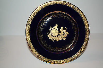 Small Limoges Castel Porcelain Cobalt Blue Plate with attached Stand