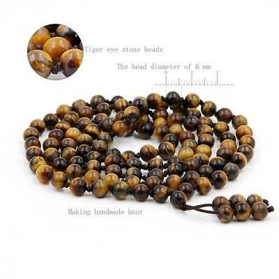 Tiger Eye Gemstone Tibet Buddhist 108 Prayer Beads Mala Necklace With Knot