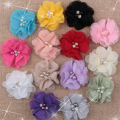 Wholesale Mix 5/10/50 Chiffon sew flowers Big Appliques/Craft/Headband Clips DIY