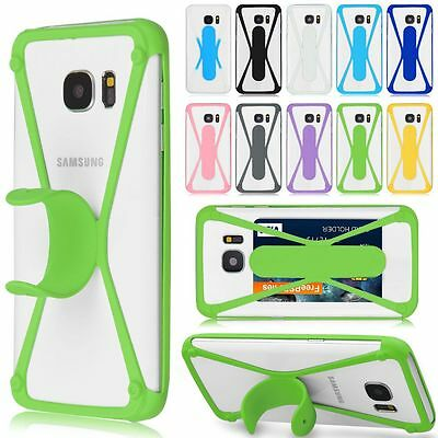 Card Holder Stand Soft Silicone TPU Bumper Case Cover For Universal Cellphone