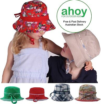 Girls | Boys | Kids Adjustable Bucket Summer SUN HAT- Cotton  UPF50+  Wide Brim