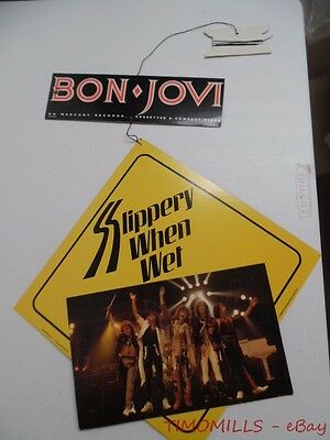 1986 BON JOVI Slippery When Wet Record Store Mobile Sign Vintage Original VG