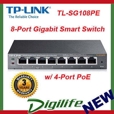 TP-LINK SG108PE 8-Port Gigabit Easy Smart Switch 4 port PoE Managed