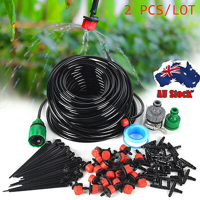 2 PCS 25m Micro Drip Irrigation System Plant Self Watering Garden Hose Kits DIY