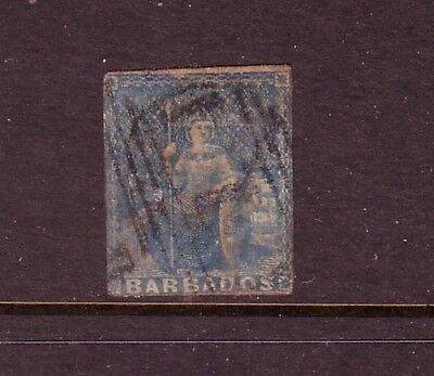 BARBADOS....  1855  1d blue imperf used....cv £60