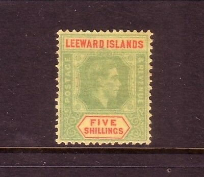 LEEWARD Is....  1938  5/- green/red on yellow mng