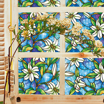 3D Window Decor Orchid Flower Stained Glass Window Film Sticker DIY Home Decor