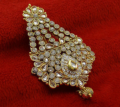 Goldtone Indian Women Forehead Designer Traditional Passa Hair Accessory Jewelry