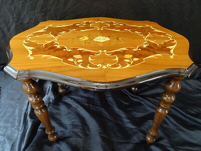 Vintage Louis XVI French Style Marquetry Floral Inlaid Serpentine Coffee Table