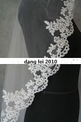 New White/Ivory Fingertip Length Lace 1 Layer Wedding Bridal Veil With Comb