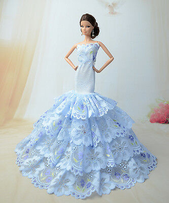 Royalty Mermaid Dress Party Dress/Clothes Gown For Barbie Doll S206u