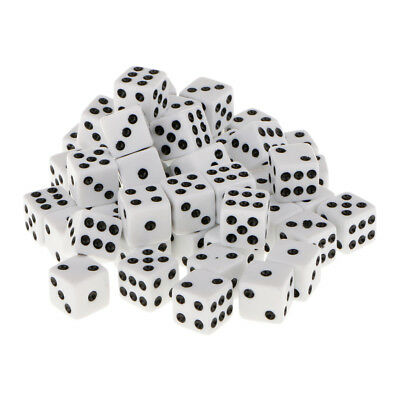 12mm 50Pcs Opaque Six Sided Spot Dice Games D6 RPG Playing Toys White