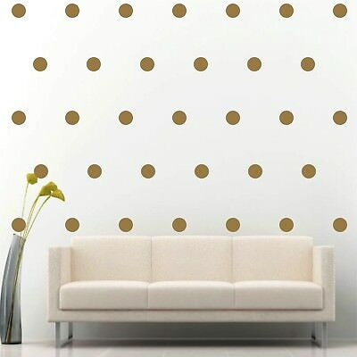 """200 of 2"""" Gold Polka Dot Circle Removable Peel & Stick Wall Vinyl Decal Sticker"""