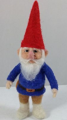 """OOAK Needle Felted Traditional Gnome 5-1/2"""" tall ~ by artist C.E Turner"""