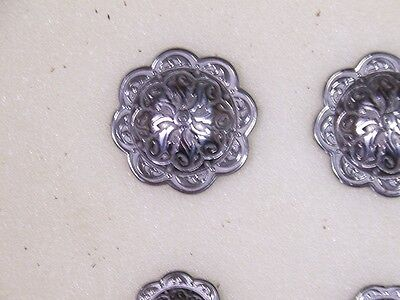 SET of (4) POST BACK STAINLESS STEEL FLORAL CONCHOS~~HORSE SHOE BRAND~~2 SIZES