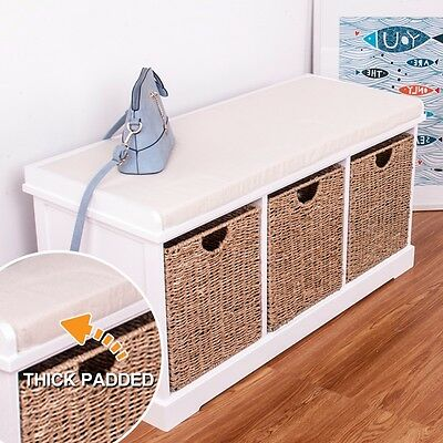 Hallway White wooden Storage Bench With 3 Sea Grass Basket Drawers Cabinet Chest