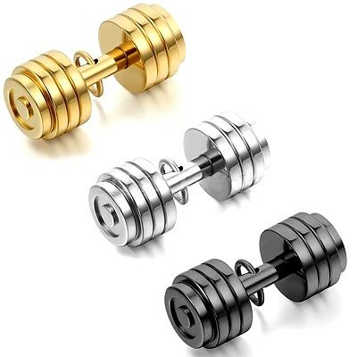 Stainless Steel Dumbbell Barbell Pendant Necklace Fitness Gym Cocktail Crossfit
