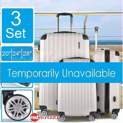 Luggage Suitcase 3pc Trolley 4 Wheel Set TSA Travel Carry On Bag Hard Case White